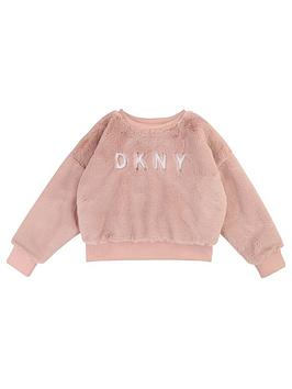 dkny-girls-faux-fur-logo-sweat-pink