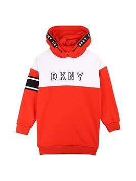 dkny-girls-colour-block-logo-sweat-dress-red