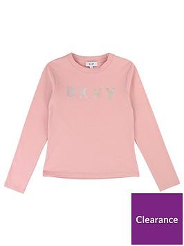 dkny-girls-long-sleeve-metallic-logo-t-shirt-pink