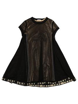 DKNY Dkny Girls Double Layer Metallic Mesh Dress - Gold/Black Picture