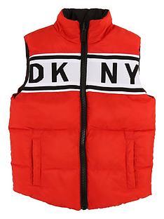 dkny-boys-reversible-logo-gilet-red