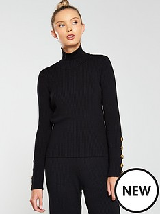 native-youth-the-layla-buttoned-cuff-knit-jumper-black