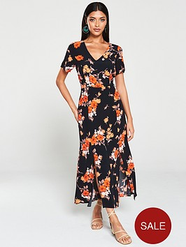 wallis-wallis-ditsy-bloom-split-front-midi-dress