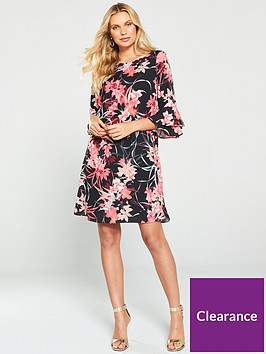 wallis-vivid-floral-flute-sleeve-dress-black