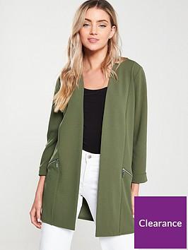 wallis-zip-pocket-longline-blazer-khaki