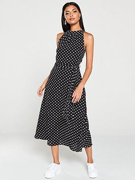 wallis-polka-dot-fit-and-flare-dress-black