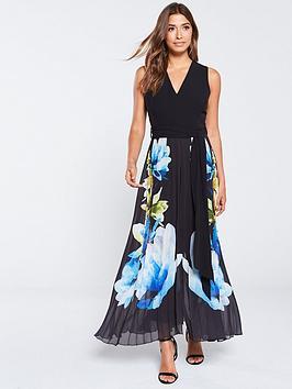 wallis-pleated-floral-overlayer-jumpsuit-black