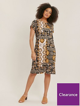 evans-ochre-printed-jersey-dress-multi