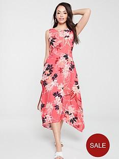 wallis-vivid-oriental-hanky-hem-dress-pink