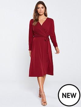 wallis-wrap-front-midi-dress-berry