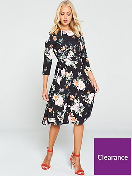 wallis-oriental-floral-a-line-dress-black