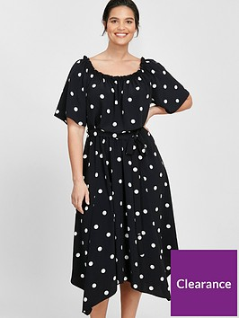 evans-spot-bardot-dress-black