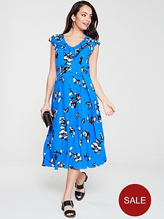 wallis-butterfly-frill-midi-dress-blue