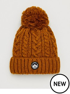 superdry-gracie-cable-beanie-ochre