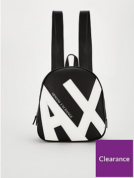 armani-exchange-logo-backpack-blackwhite