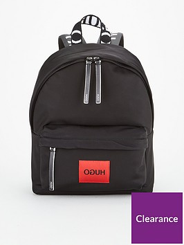 hugo-reverse-record-nylon-backpack-black