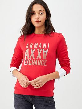 Armani Exchange   Metallic Logo Sweatshirt - Red