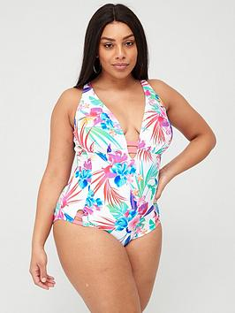 Figleaves Figleaves Non-Wired Plunge Tummy Control Swimsuit - Multi Picture