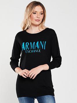 Armani Exchange   Logo Jumper - Black Blue