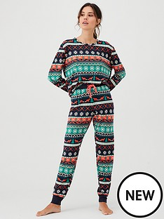chelsea-peers-foxy-fairisle-long-christmas-pjs-set-multi