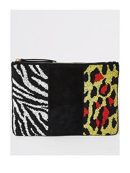 river-island-river-island-premium-leather-beaded-pouch-yellow