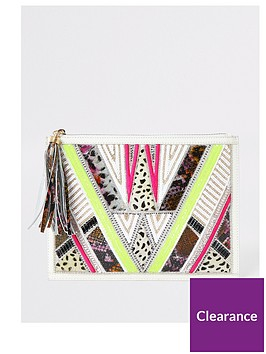 river-island-river-island-premium-leather-beaded-pouch-white