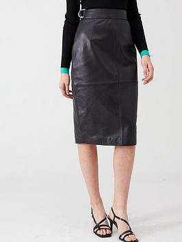 V by Very V By Very Leather Pencil Skirt - Black Picture