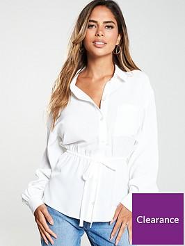 miss-selfridge-long-sleeve-drawstring-shirt-white