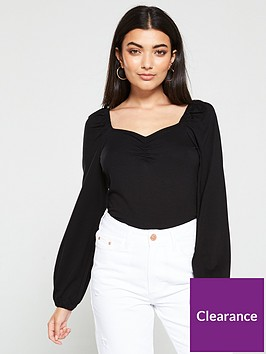 v-by-very-ruchednbsplong-sleeve-top-black