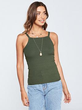v-by-very-square-neck-ribbed-basic-vest-khaki