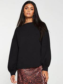 v-by-very-oversized-raw-hem-sweater-black