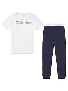 calvin-klein-boys-logo-short-sleeve-pyjama-set-whitenavy