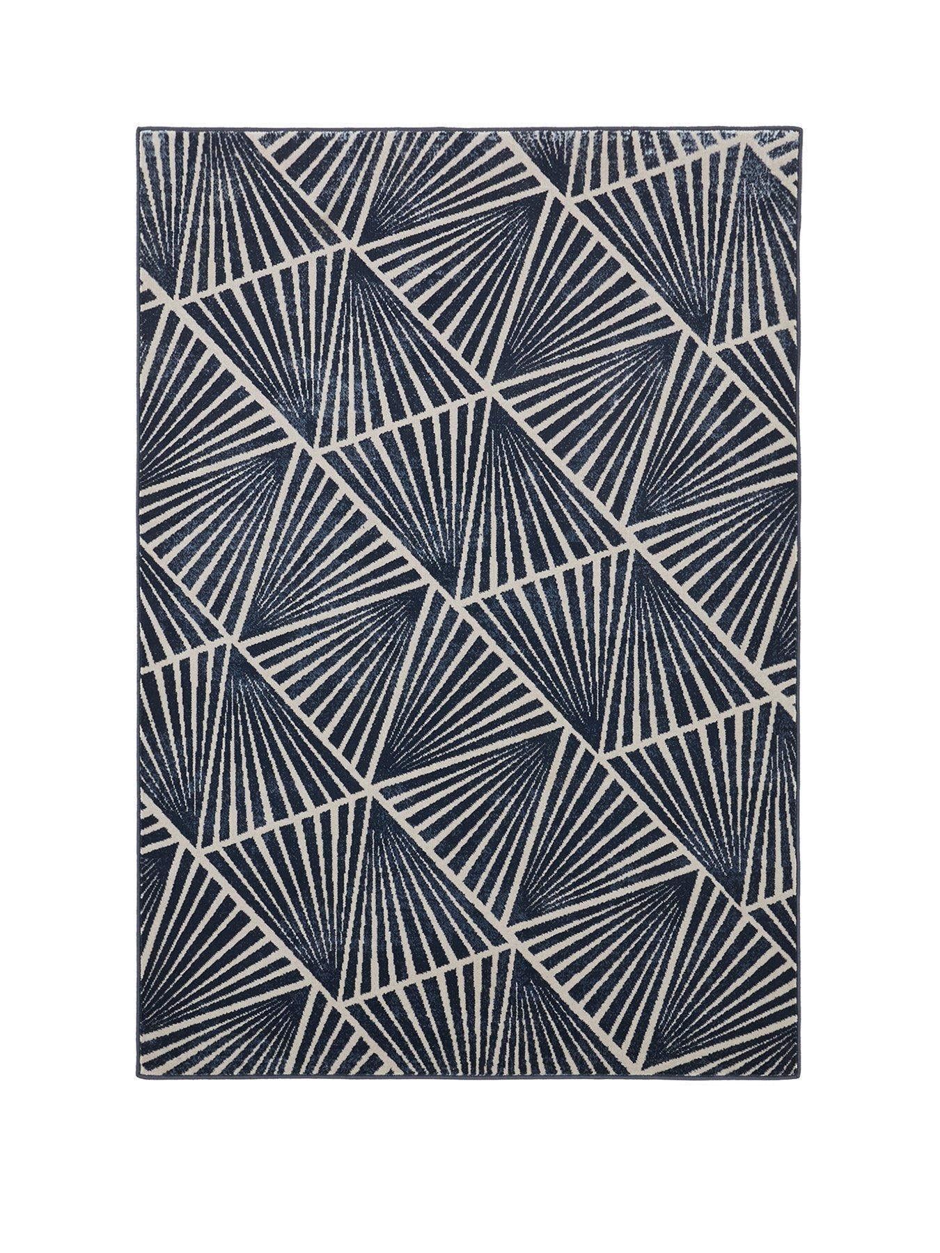 Black White Patch Work Diamond Large Rug 80cm x 150cm Modern New Design 339