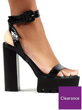public-desire-deacutejagrave-vu-platform-heeled-sandals-black