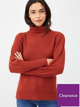 v-by-very-puff-sleeve-roll-neck-jumper-rednbsp