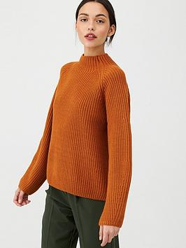 v-by-very-ribbed-grown-on-neck-jumper-ochre
