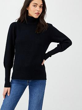 v-by-very-puff-sleeve-roll-neck-jumper-black