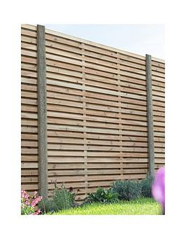 FOREST  Forest 1.8M X 1.8M Pressure Treated Double Slatted Fence Panel - Pack Of 4