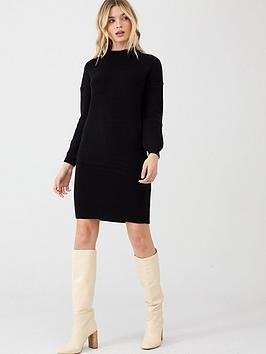 v-by-very-twist-back-knitted-dress-black