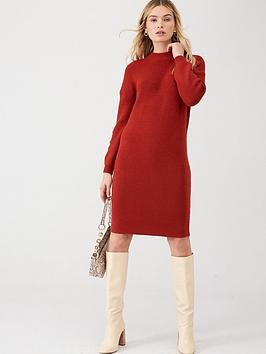 v-by-very-twist-back-knitted-dress-red-clay