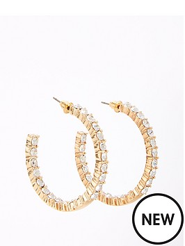 v-by-very-rhinestone-front-hoop-earring-gold