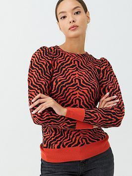 V by Very V By Very Orange Zebra Jacquard Jumper - Orange Picture