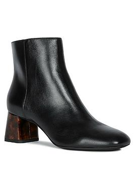Geox Geox D Seyla C Leather Heeled Ankle Boots - Black Picture