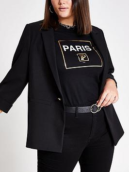 RI Plus Ri Plus Turn Up Cuff Blazer- Black Picture