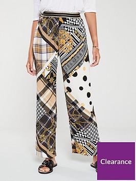 river-island-river-island-scarf-print-cropped-wide-leg-trouser-khaki