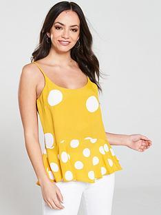 river-island-river-island-yellow-spot-peplum-hem-cami-yellow
