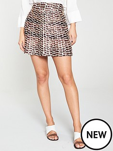 62eefef2c987 River Island River Island Chain Print Pleated Mini Skirt-Brown