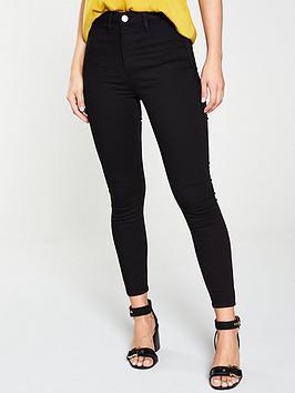 River Island River Island Kaia High Waist Disco Skinny Jeans - Black Picture