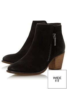 dune-london-wide-fit-ponntoon-side-zip-stack-heel-ankle-boots-black