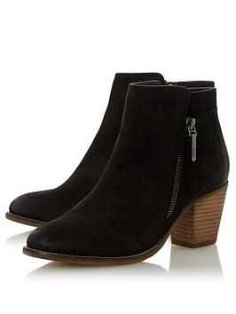 Dune London Dune London Wide Fit Ponntoon Side Zip Stack Heel Ankle Boots  ... Picture